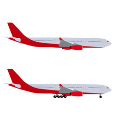 Airplane with chassis and airliner without chassis vector