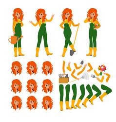 Attractive gardener funny character design vector