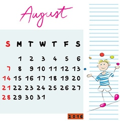 august 2016 kids vector image