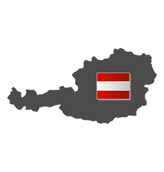 Austria flag with the map vector