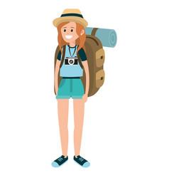 Backpacker tourist woman vector