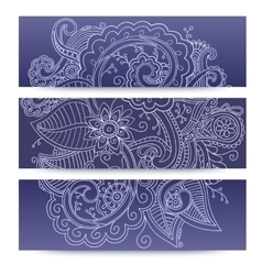 Banners with doddle pattern vector