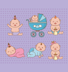Bashower card with little babies vector