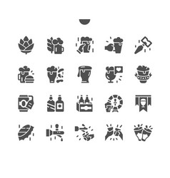 Beer well-crafted pixel perfect solid icons vector