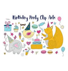big set of birthday party clip arts vector image