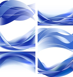 Blue waves isolated set on white background vector image