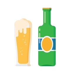 bottle and glass beer vector image