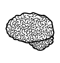Brain silhouette monochrome with side view vector