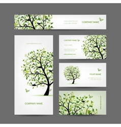 Business cards design spring tree with birds vector image