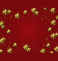 Celebratory background gold leaf stars on a red vector