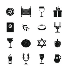 Chanukah jewish holiday icons set simple style vector