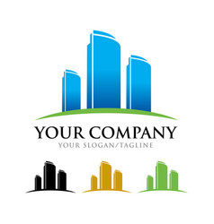 Commercial apartment building company symbol logo vector