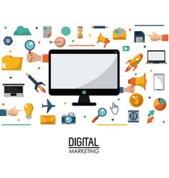 Computer digital marketing business commerce vector