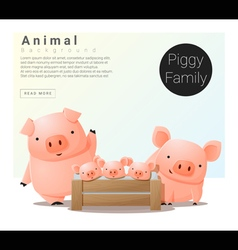 Cute animal family background with Pigs vector