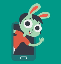 Cute Lover Bunny Girl Showing on Screen Phone vector image