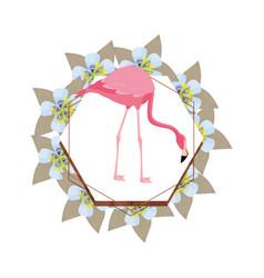 Delicate flamingo floral wreath flower vector