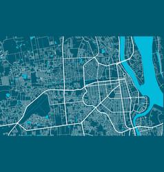 Detailed map phnom penh city linear print map vector