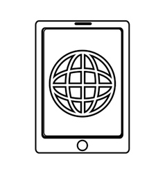 Electronic device with world map on the screen vector