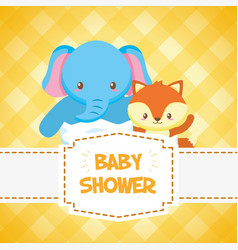 elephant and fox toy bashower card vector image