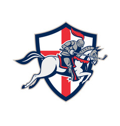 english knight golf club lance shield retro vector image