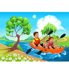 Father and daughter on the kayak in the river vector