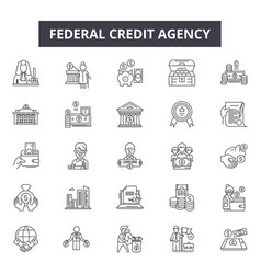 Federal credit agency line icons for web and vector