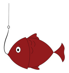 fish on hook on white background vector image
