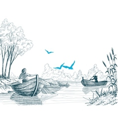 Fisherman in boat sketch delta river or sea vector