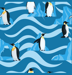 flat penguins on blue with waves seamless pattern vector image