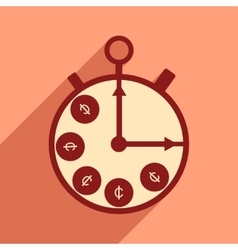 Flat with shadow icon Stopwatch and coins vector