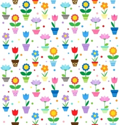 flowers in pots pattern vector image