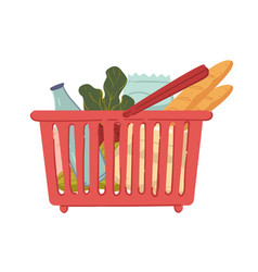Food in shopping basket vegetables and bread vector