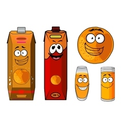 Fresh orange juice cartoon characters vector