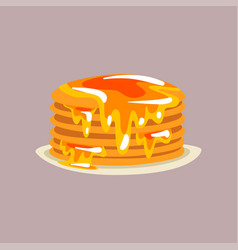 fresh tasty pancakes with honey on a plate vector image