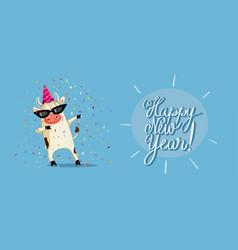 Funny party ox celebrating new year cartoon vector