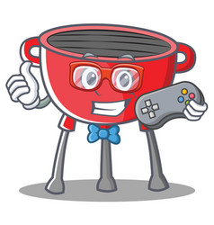 Gamer barbecue grill cartoon character vector