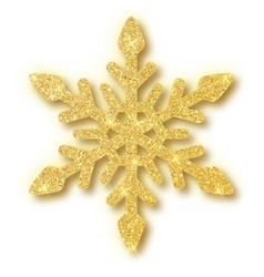 gold glitter texture snowflake isolated on white vector image