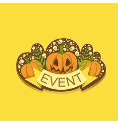 Halloween event template label cute sticker vector
