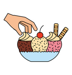 hand with ice cream on bowl vector image