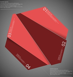 Hexagon randomly cut to four parts on dark vector