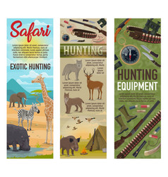 hunting african safari hunter ammo and animals vector image