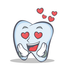 in love tooth character cartoon style vector image