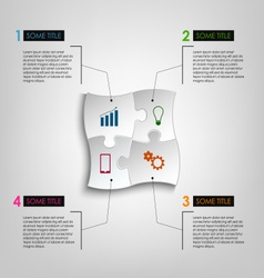 Info graphic white puzzle design template vector image