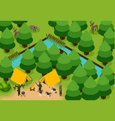 Isometric colored hunting composition vector
