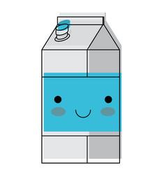 kawaii milk carton in watercolor silhouette vector image