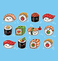 Kawaii rolls and sushi manga cartoon set vector