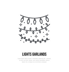 Lights garlands line icon logo for event vector