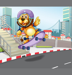 Lion skateboarding in urban city vector