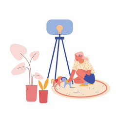 Little girl character with autism disorder sitting vector