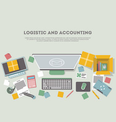 Logistic and accounting banner vector